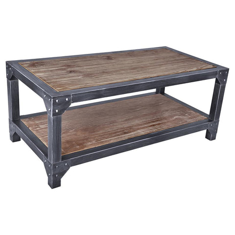 Armen Living Astrid Industrial Coffee Table in Industrial Grey & Pine Wood Top