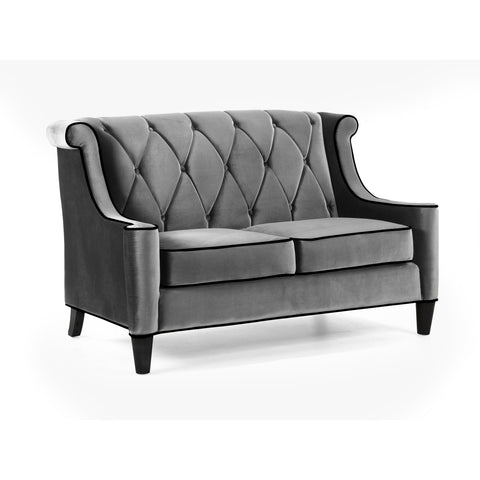 Armen Living Barrister Loveseat Gray Velvet and Black Piping