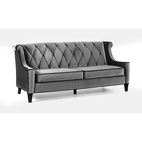 Armen Living Barrister Sofa Gray Velvet and Black Piping
