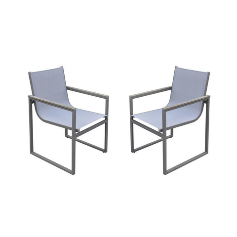 Armen Living Bistro Outdoor Patio Dining Chair in Grey Powder Coated w/Grey Sling Textilene & Grey Wood Accent Arms - Set of 2