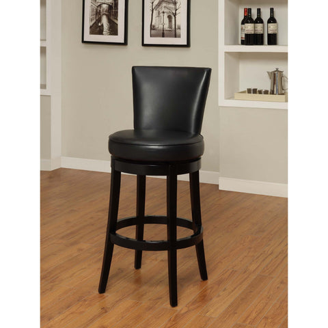 Armen Living Boston Swivel Barstool In Black Bicast Leather Seat Height