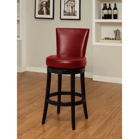 Armen Living Boston Swivel Barstool In Red Bicast Leather Seat Height