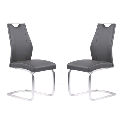 Armen Living Bravo Contemporary Dining Chair in Gray Faux Leather & Brushed Stainless Steel - Set of 2