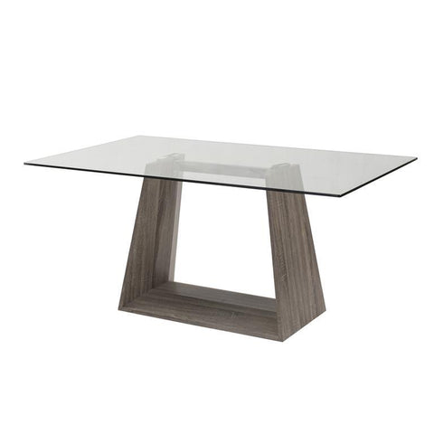 Armen Living Bravo Contemporary Dining Table In Dark Sonoma Base With Clear Glass Top