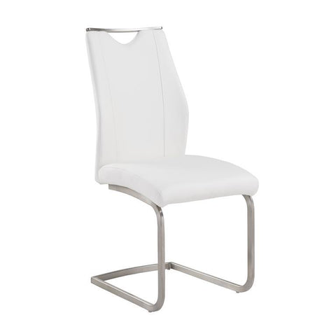 Armen Living Bravo Contemporary Side Chair In White and Stainless Steel - Set of 2