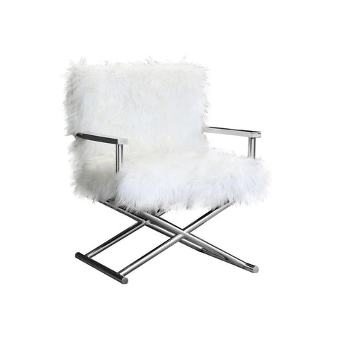 Armen Living Calgary Contemporary Accent Chair in Polished Stainless Steel w/White Faux Fur