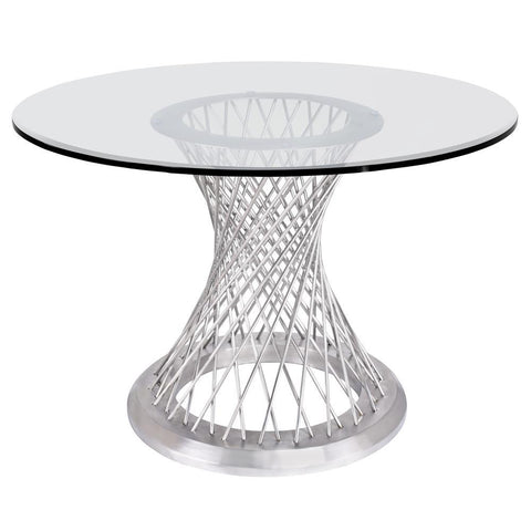 Armen Living Calypso Contemporary Dining Table in Brushed Stainless Steel w/Clear Tempered Glass Top