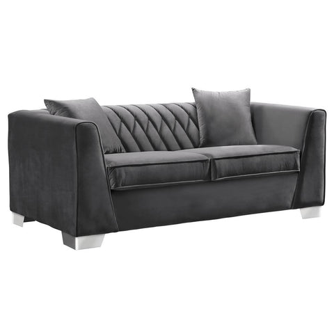 Armen Living Cambridge Contemporary Loveseat in Brushed Stainless Steel & Dark Grey Velvet