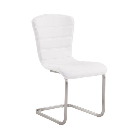 Armen Living Cameo Modern Side Chair In Stainless Steel With White - Set of 2