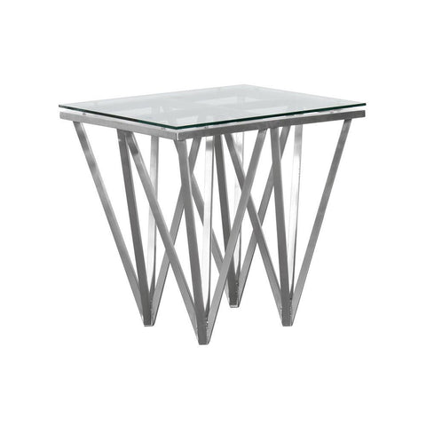 Armen Living Cascade Contemporary Square End Table in Brushed Stainless Steel w/Tempered Glass Top