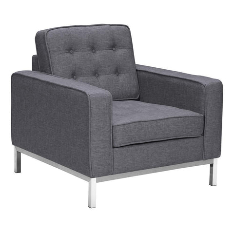 Armen Living Chandler Contemporary Sofa Chair in Brushed Stainless Steel & Dark Grey Fabric