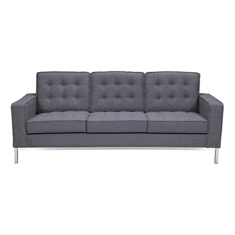 Armen Living Chandler Contemporary Sofa in Brushed Stainless Steel & Dark Grey Fabric