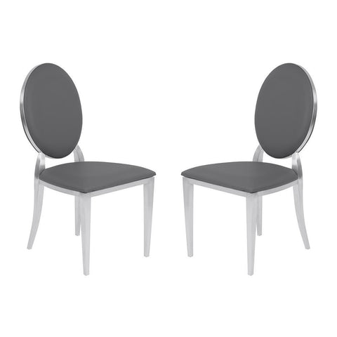 Armen Living Cielo Contemporary Dining Chair in Gray Faux Leather w/Brushed Stainless Steel Finish - Set of 2