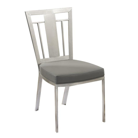 Armen Living Cleo Contemporary Dining Chair In Gray and Stainless Steel - Set of 2