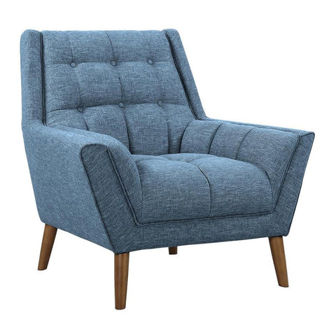 Armen Living Cobra Mid-Century Modern Chair in Blue Linen & Walnut Legs