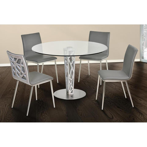 Armen Living Crystal 5 Piece Round Glass Dining Room Set in Brushed Stainless Steel