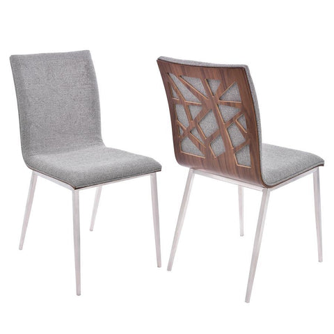 Armen Living Crystal Dining Chair in Brushed Stainless Steel finish with Grey Fabric Upholstery and Walnut Back (Set of 2)
