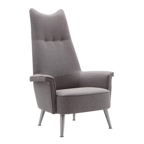 Armen Living Danka Chair in Brushed Steel finish with Grey Fabric upholstery