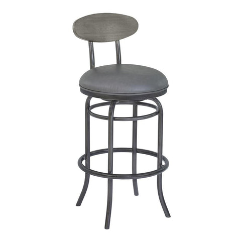 Armen Living Davis Metal Swivel Barstool in Vintage Gray Faux Leather w/Mineral & Gray Walnut Wood Back