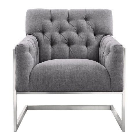 Armen Living Emily Contemporary Accent Chair in Brushed Stainless Steel w/Grey Fabric