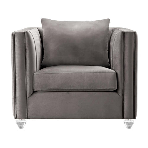 Armen Living Emperor Contemporary Chair w/Acrylic Beige Fabric & Pillows