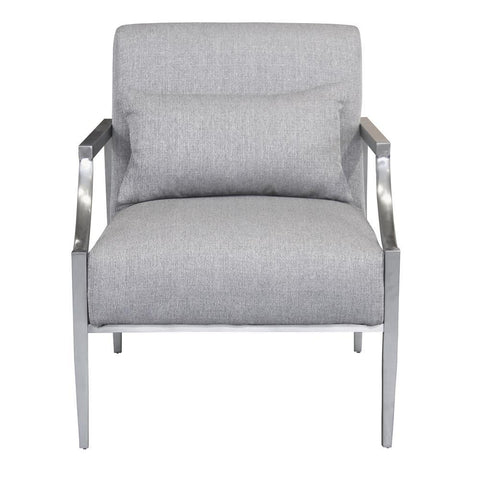 Armen Living Essence Contemporary Accent Chair in Polished Stainless Steel & Grey Fabric
