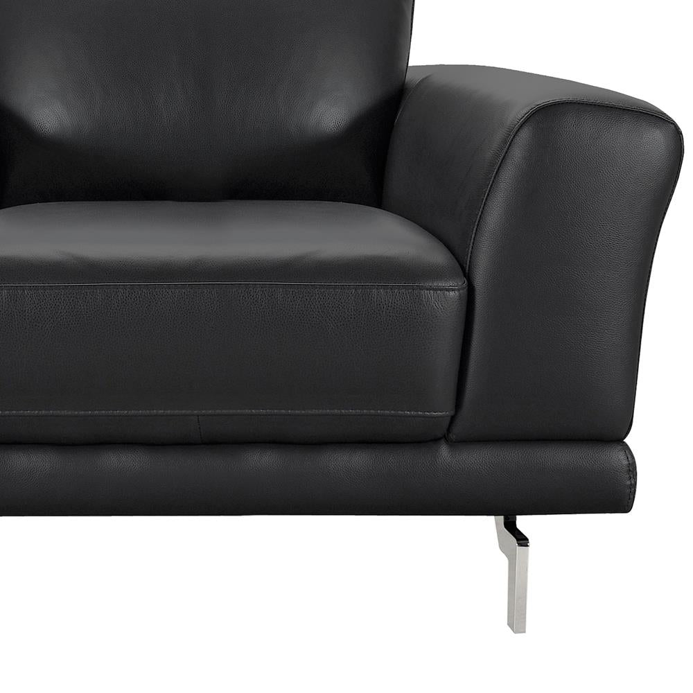 Armen Living Everly Contemporary Chair In Genuine Black