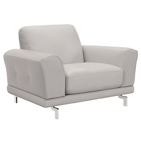 Armen Living Everly Contemporary Chair in Genuine Dove Grey Leather w/Brushed Stainless Steel Legs