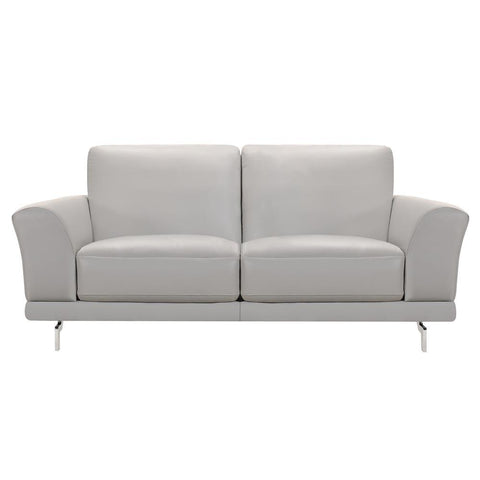 Armen Living Everly Contemporary Loveseat in Genuine Dove Grey Leather w/Brushed Stainless Steel Legs