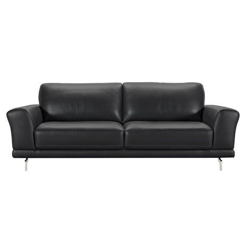 Armen Living Everly Contemporary Sofa in Genuine Black Leather w/Brushed Stainless Steel Legs