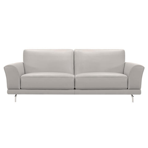 Armen Living Everly Contemporary Sofa in Genuine Dove Grey Leather w/Brushed Stainless Steel Legs