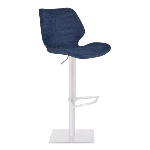 Armen Living Falcon Adjustable Swivel Barstool in Brushed Stainless Steel w/Dark Vintage Blue Faux Leather