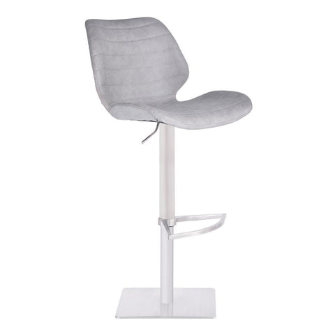 Armen Living Falcon Adjustable Swivel Barstool in Brushed Stainless Steel w/Light Vintage Grey Faux Leather