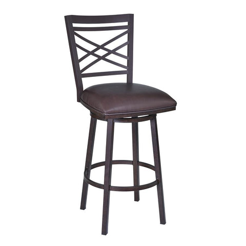 "Armen Living Fargo 30"" Barstool in Auburn Bay finish with Brown Pu upholstery"