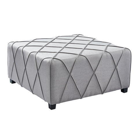 Armen Living Gemini Contemporary Ottoman in Silver Linen w/Piping Accents & Wood Legs