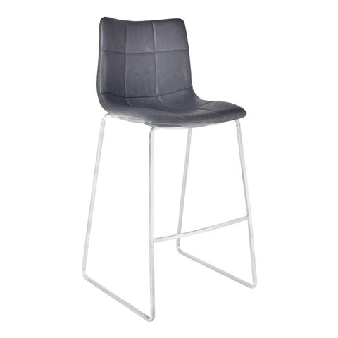 Armen Living Hamilton Barstool in Brushed Stainless Steel w/Vintage Grey Faux Leather