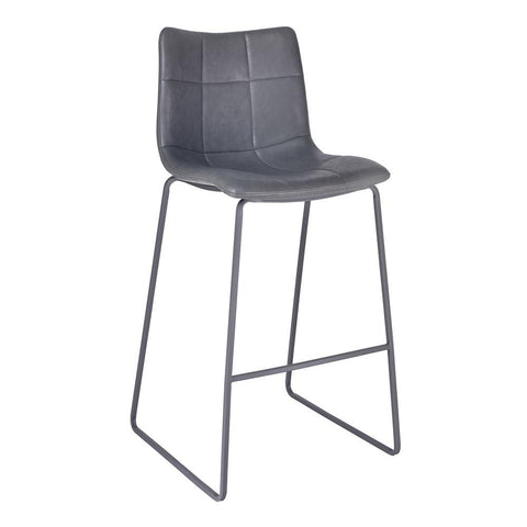 Armen Living Hamilton Barstool in Grey Powder Coated w/Vintage Grey Faux Leather
