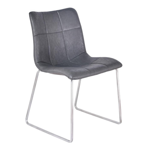 Armen Living Hamilton Contemporary Dining Chair in Brushed Stainless Steel w/Vintage Grey Faux Leather - Set of 2
