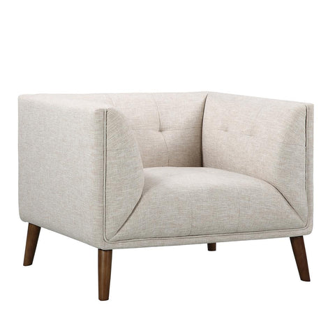 Armen Living Hudson Mid-Century Button-Tufted Chair in Beige Linen & Walnut Legs