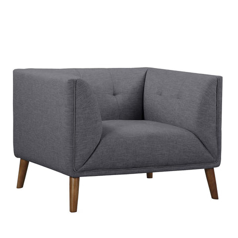 Armen Living Hudson Mid-Century Button-Tufted Chair in Dark Gray Linen & Walnut Legs