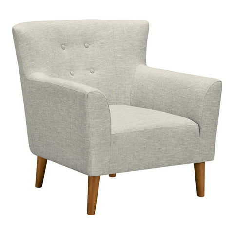 Armen Living Hyland Mid-Century Accent Chair in Champagne Wood & Beige Fabric