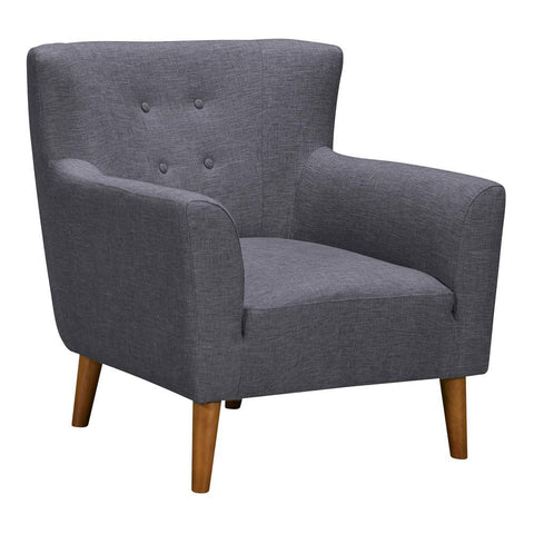 Armen Living Hyland Mid-Century Accent Chair in Champagne Wood & Dark Grey Fabric