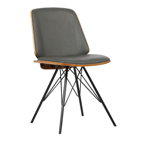 Armen Living Inez Mid-Century Dining Chair in Gray Faux Leather w/Black Powder Coated Metal Legs & Walnut Veneer Back