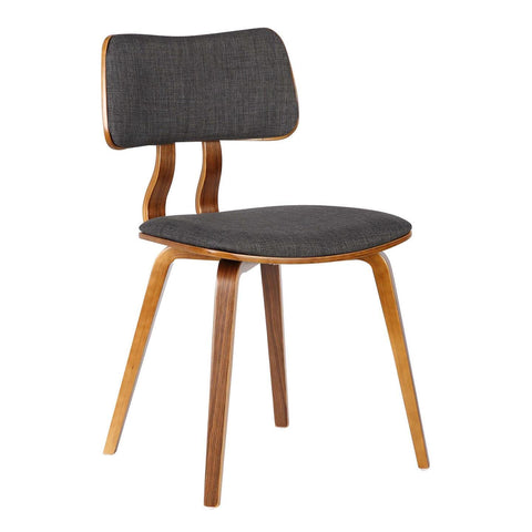 Armen Living Jaguar Mid-Century Dining Chair in Walnut & Charcoal