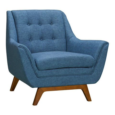 Armen Living Janson Mid-Century Sofa Chair in Champagne Wood & Blue Fabric