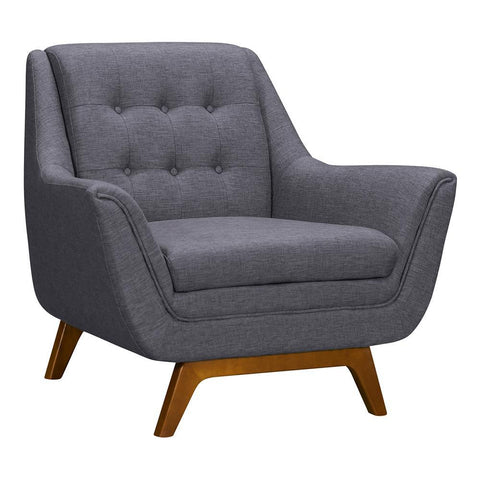 Armen Living Janson Mid-Century Sofa Chair in Champagne Wood & Dark Grey Fabric