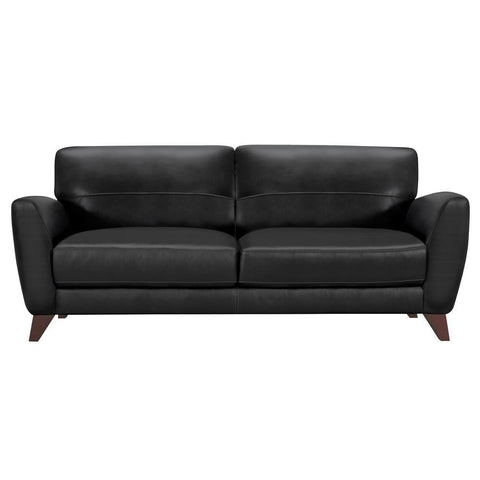 Armen Living Jedd Contemporary Sofa in Genuine Black Leather w/Brown Wood Legs