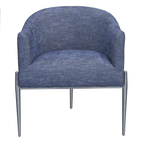Armen Living Jolie Contemporary Accent Chair in Polished Stainless Steel & Blue Fabric