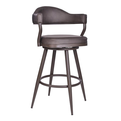 Armen Living Justin Barstool in Brown Powder Coated & Vintage Brown Faux Leather