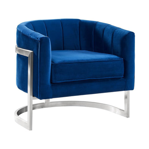 Armen Living Kamila Contemporary Accent Chair in Blue Velvet & Brushed Stainless Steel